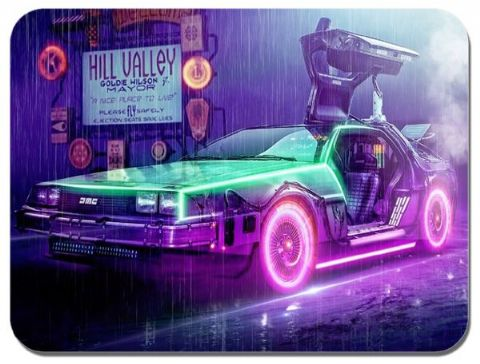 Back To The Future Delorean Movie Poster Mouse Mat. High Quality Vintage Sci-Fi Film Mouse Pad